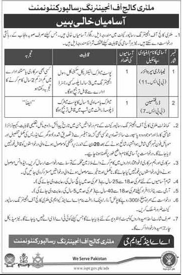 Military College of Engineering MCE Jobs 2018 for Draftsman