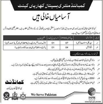 CMH Need Medical Assistant & Electrician In Kharian Cantt
