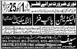 Electrician, Pipe Fitter, Ducting Mechanic, Duct Man Jobs