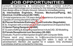 Lyceum Engineering and Construction Private Limited  Jobs