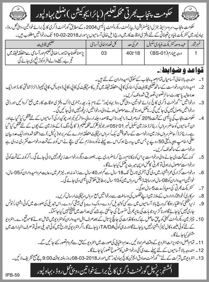 Higher Education Department Government of Punjab  Jobs