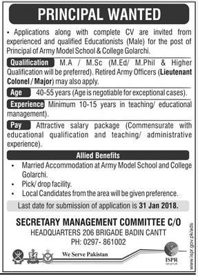 Army Model School & College Required Principal