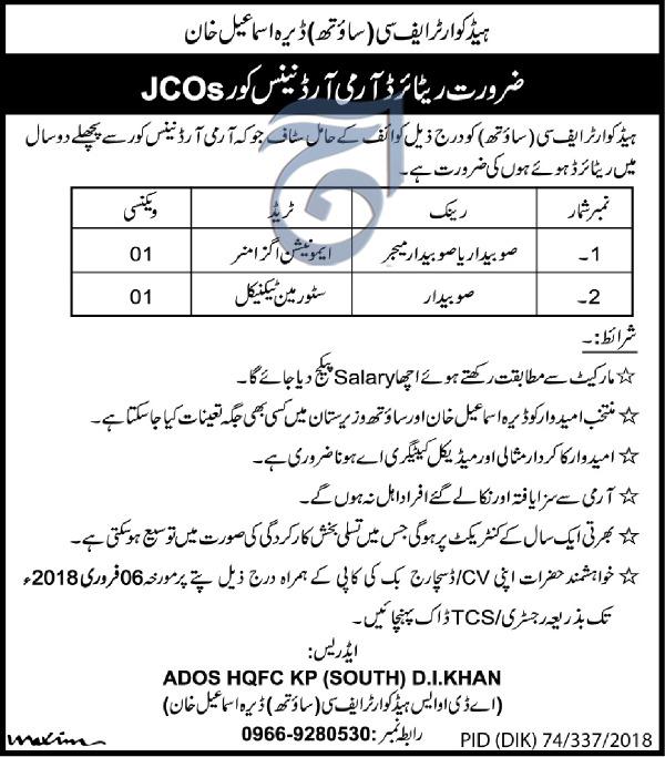 Recruitment in FC Headquarter Frontier Constabulary