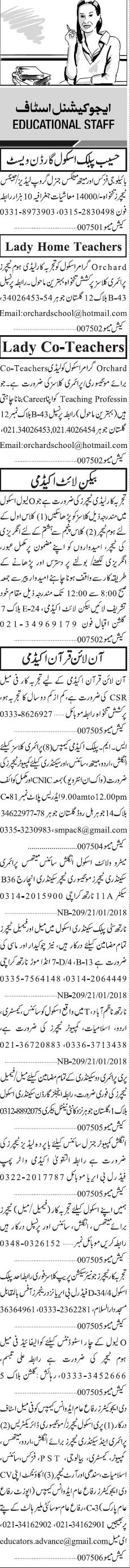 Lady Teachers, English Teachers, Principal Wanted