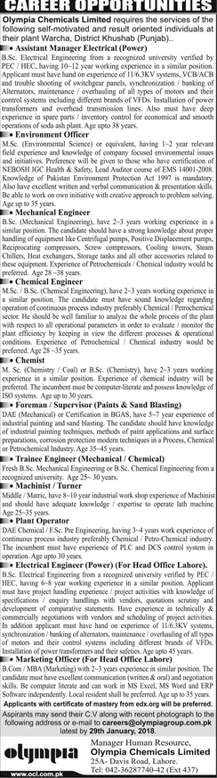 Olympia Chemicals Limited Jobs