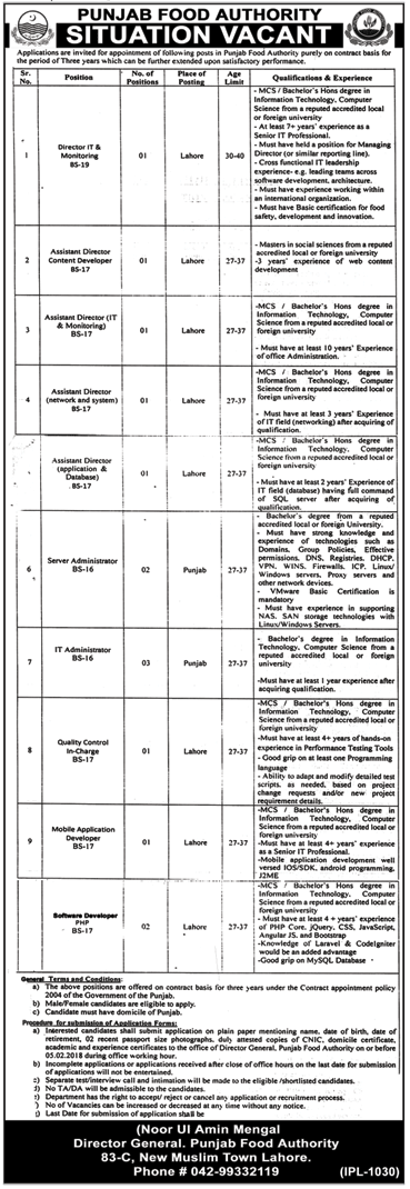 Punjab Food Department Jobs 2018 for IT Administrator