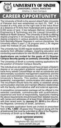 University of Sindh Management Jobs