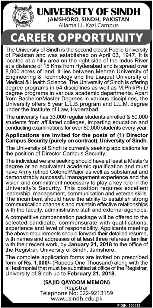 University of Sindh Jobs 2018 for Director Campus Security