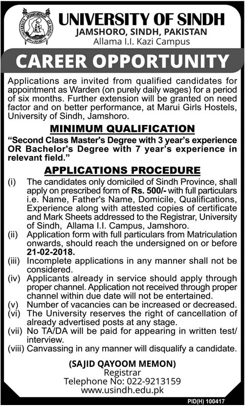 USindh Jobs 2018 for Warden
