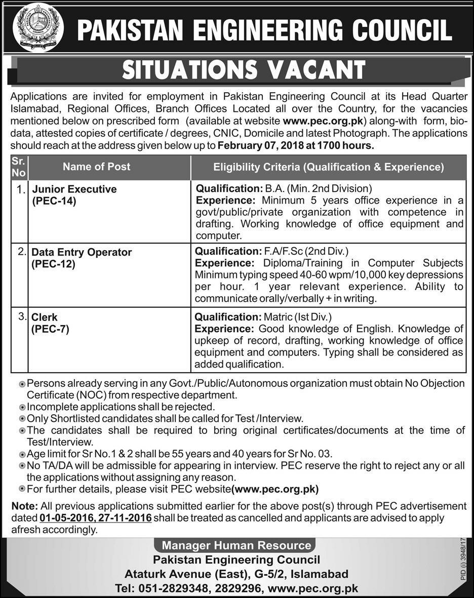 Pakistan Engineering Council Islamabad Jobs