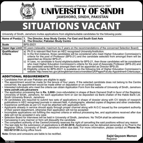 University of Sindh Need Directors In Jamshoro 2018