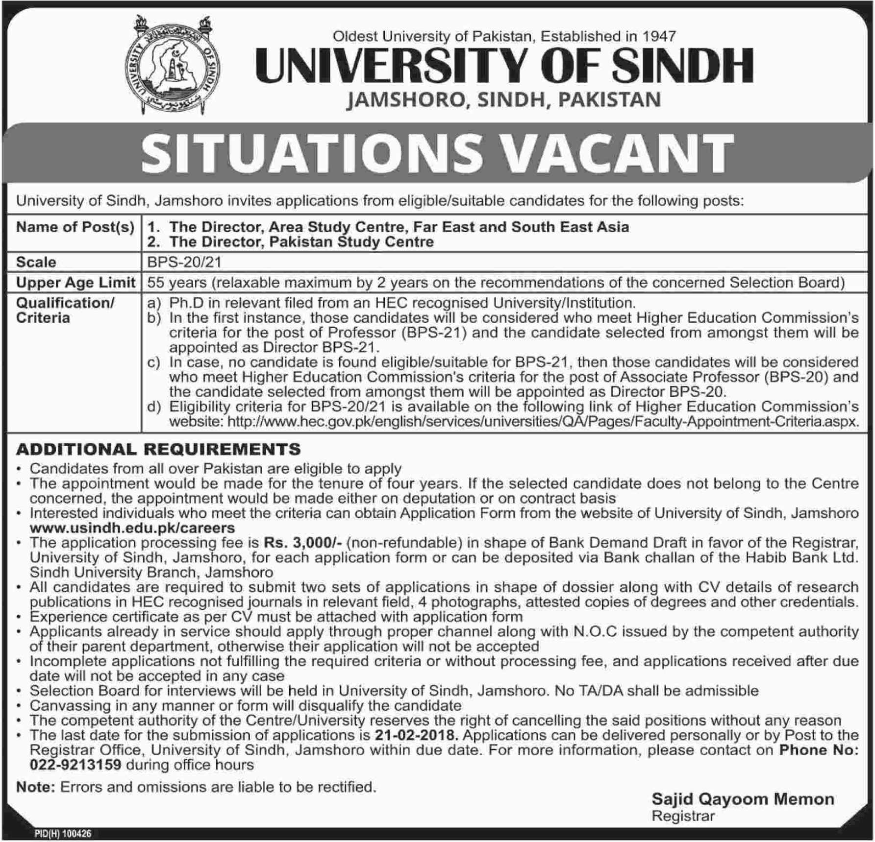 University of Sindh Jobs 2018 for Director