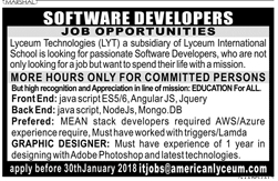 Software Developers Job Opportunity