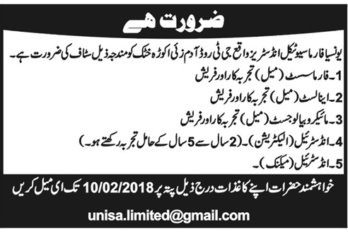 Analysts, Microbiologists, Pharmacists Job Opportunity