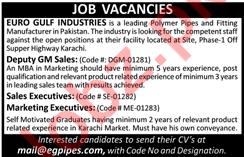 Deputy GM Sales & Sales Executive Jobs in Karachi