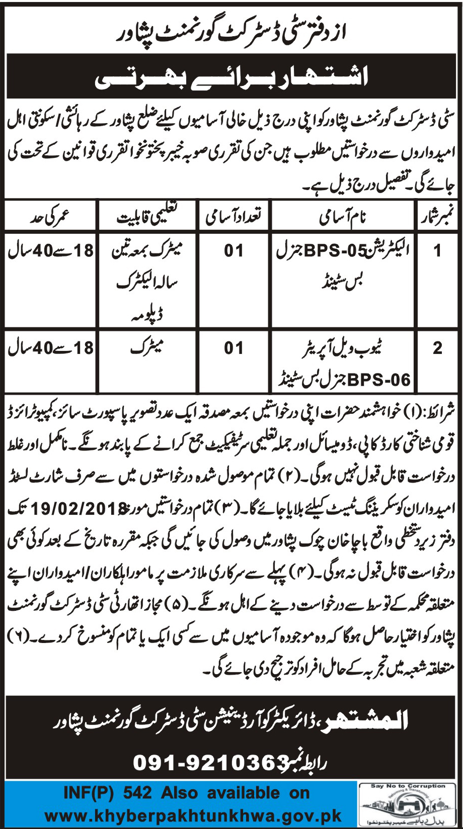 City District Government Jobs
