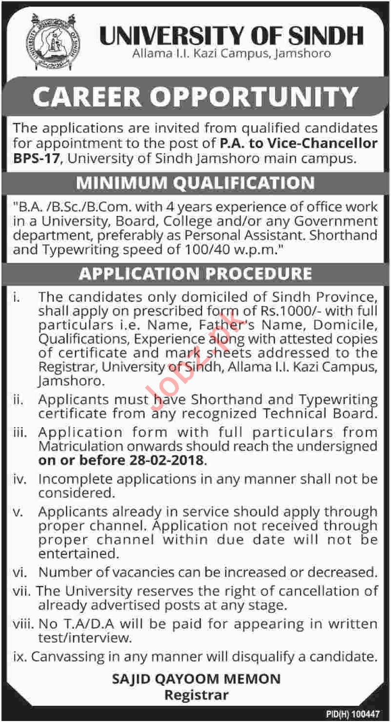 University of Sindh Need Personal Assistant