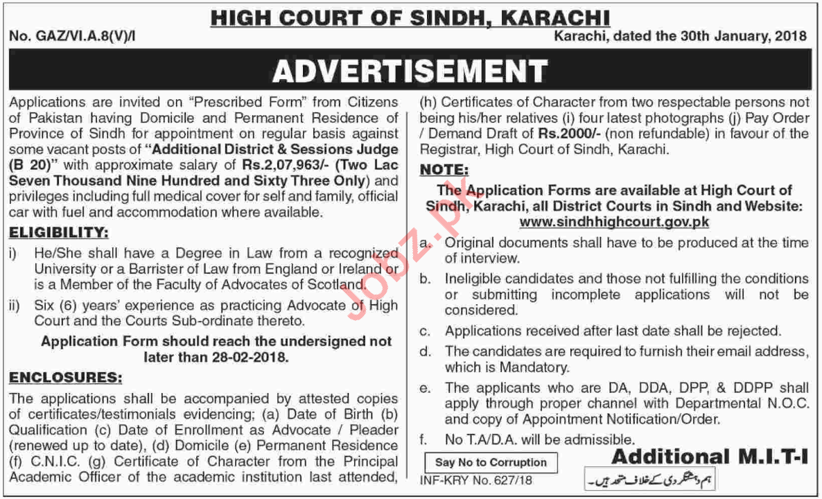 High Court of Sindh Jobs for Additional District Judge