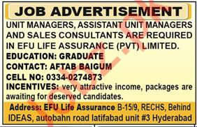 EFU Life Assurance Jobs for Unit Manager & Consultant