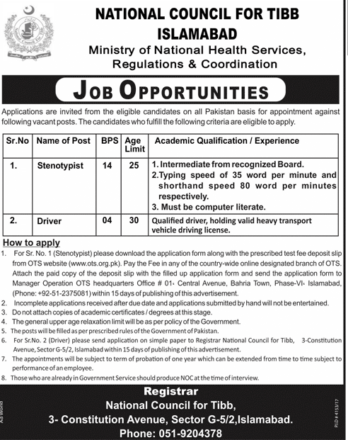 National Council For Tibb Jobs