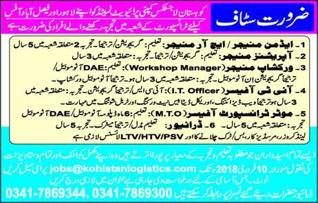 Admin Managers, HR Managers, Workshop Managers Wanted