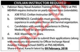 Pakistan Navy Naval Aviation Training School NATS Jobs 2018