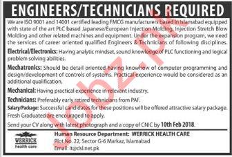 Werrick Pharmaceuticals Jobs 2018 for Engineer