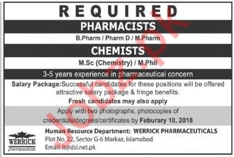 Pharmacist & Chemist Jobs in Werrick Pharmaceuticals
