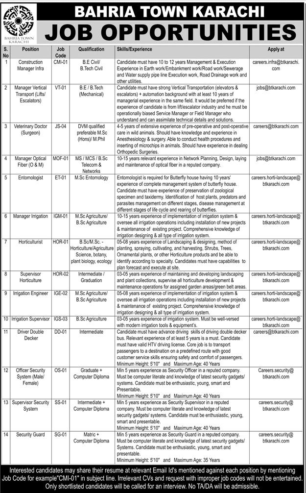 Bahria Town Karachi  Management Jobs Open
