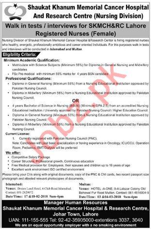Shaukat Khanum Memorial Cancer Hospital Jobs for Nurse
