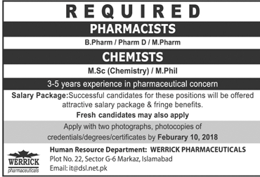 Chemists  and Pharmacists Job Opportunity
