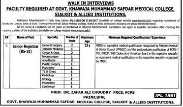 Govt Khawaja Muhammad Safdar Medical College  Job 2018