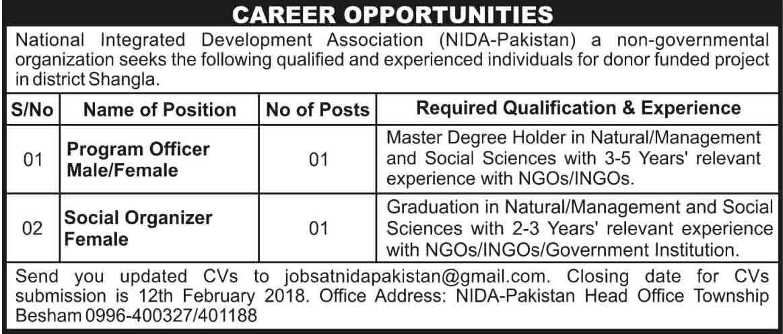 National Integrated Development Association NIDA Jobs