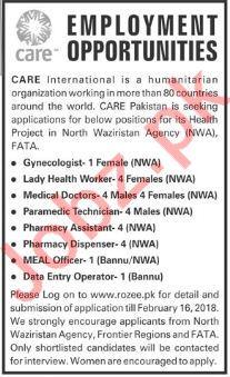 Care International NGO Jobs 2018 in Bannu & NWA