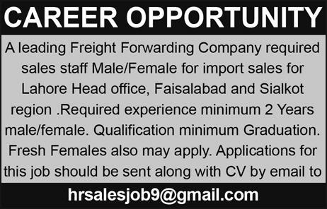 Male / Female Sales Staff Job Opportunity