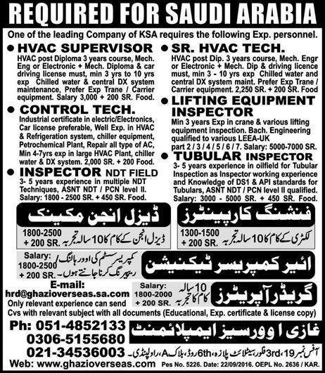 HVAC Supervisors, Control Technicians Job Opportunity