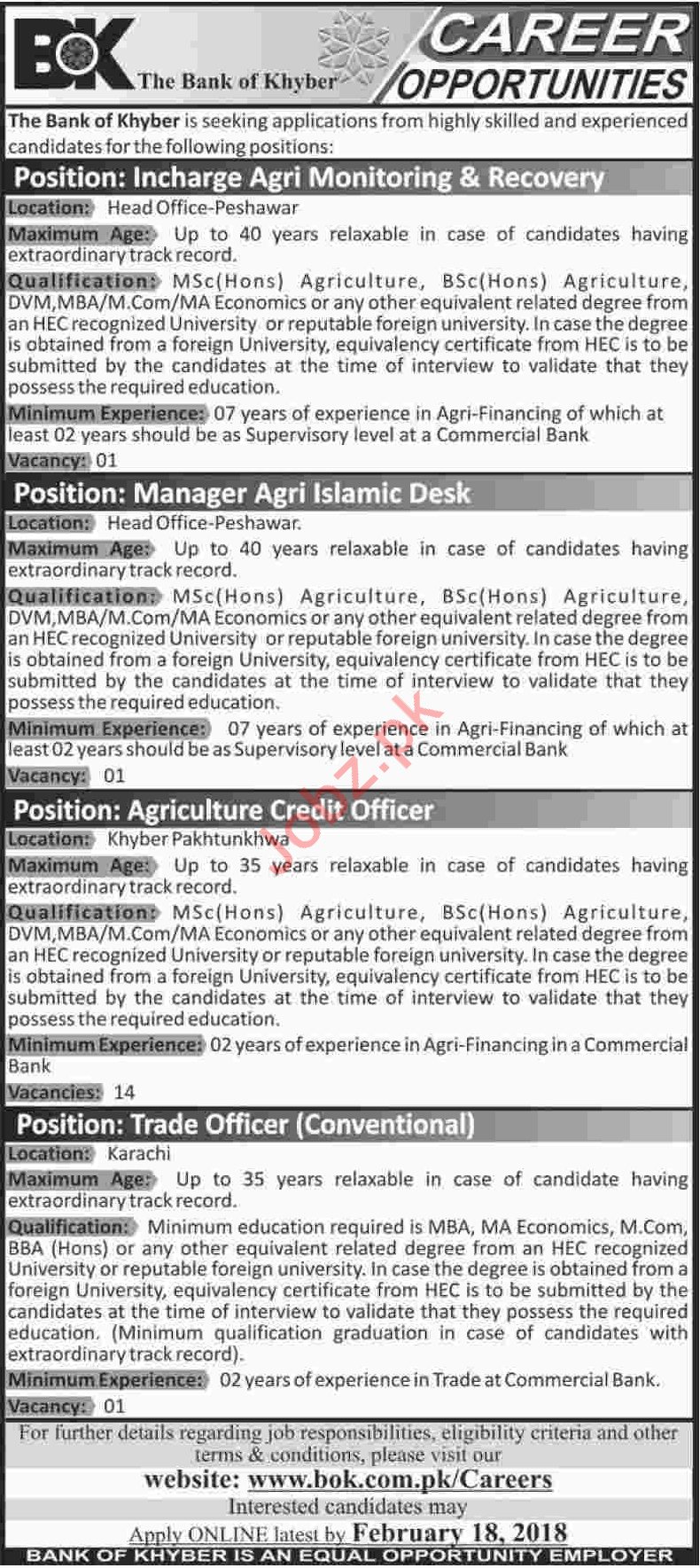 Bank of Khyber BOK Jobs Incharge Agri Monitoring & Recovery