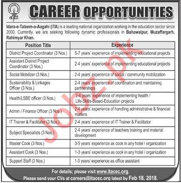 Idara-e-Taleem-o-Aagahi ITA NGO Jobs 2018