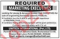 Unitech International Lahore Jobs for Marketing Executive