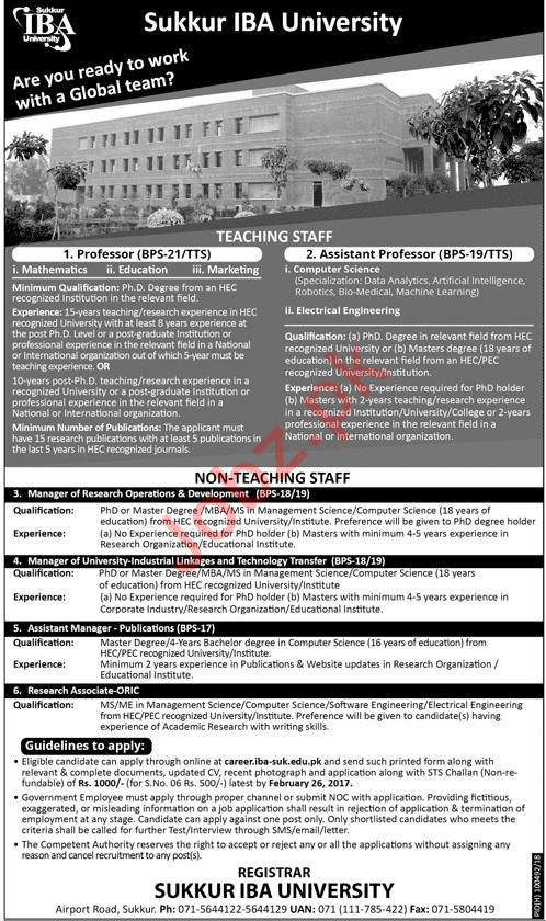 Sukkur IBA University Jobs 2018 for Professor & Manager