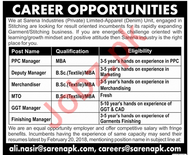 Sarena Industrial Private Limited Apparel Unit Manager Jobs