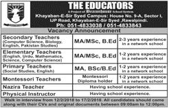 Teachers Job in The Educators School Rawalpindi