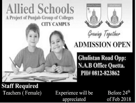 Allied School Quetta City  Campus Teachers Jobs