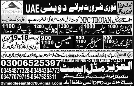 Electricians, Plumbers, Ductmen, AC Technicians Wanted