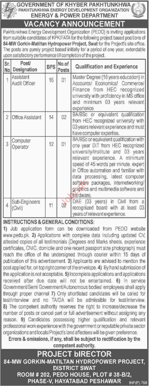 Pakhtunkhwa Energy Development Organization PEDO Swat Jobs