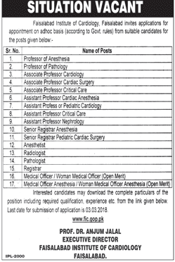 Faisalabad Institute of Cardiology Medical Teaching Jobs