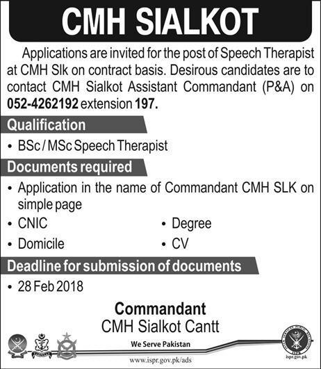 Combined Military Hospital CMH Sialkot Jobs