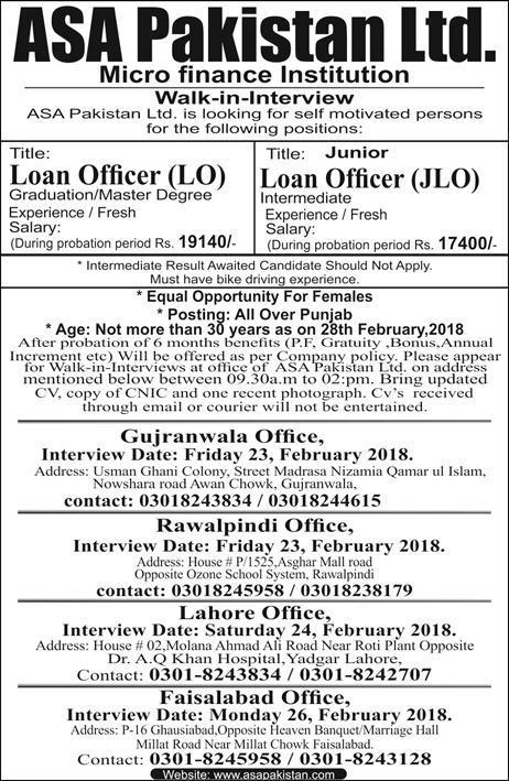 ASA Pakistan Limited Micro Finance Institution Jobs