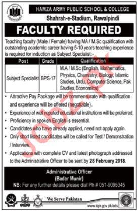 Hamza Army Public School & College APS Rawalpindi Jobs