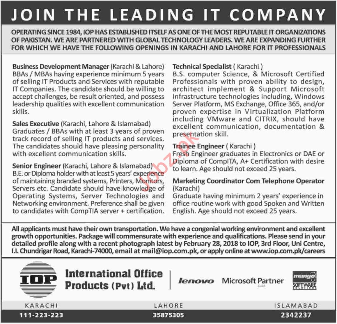 IOP International Office Products Karachi Jobs 2018